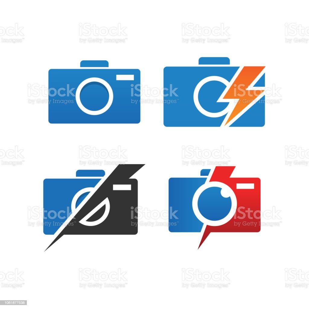 Sammlung Von Kamera Fotografie Logo Und Icon Vorlage Vektor Stock