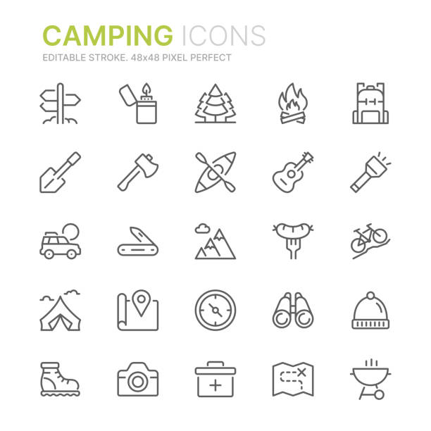 Collection of camping related line icons. 48x48 Pixel Perfect. Editable stroke Camping Icons binoculars stock illustrations