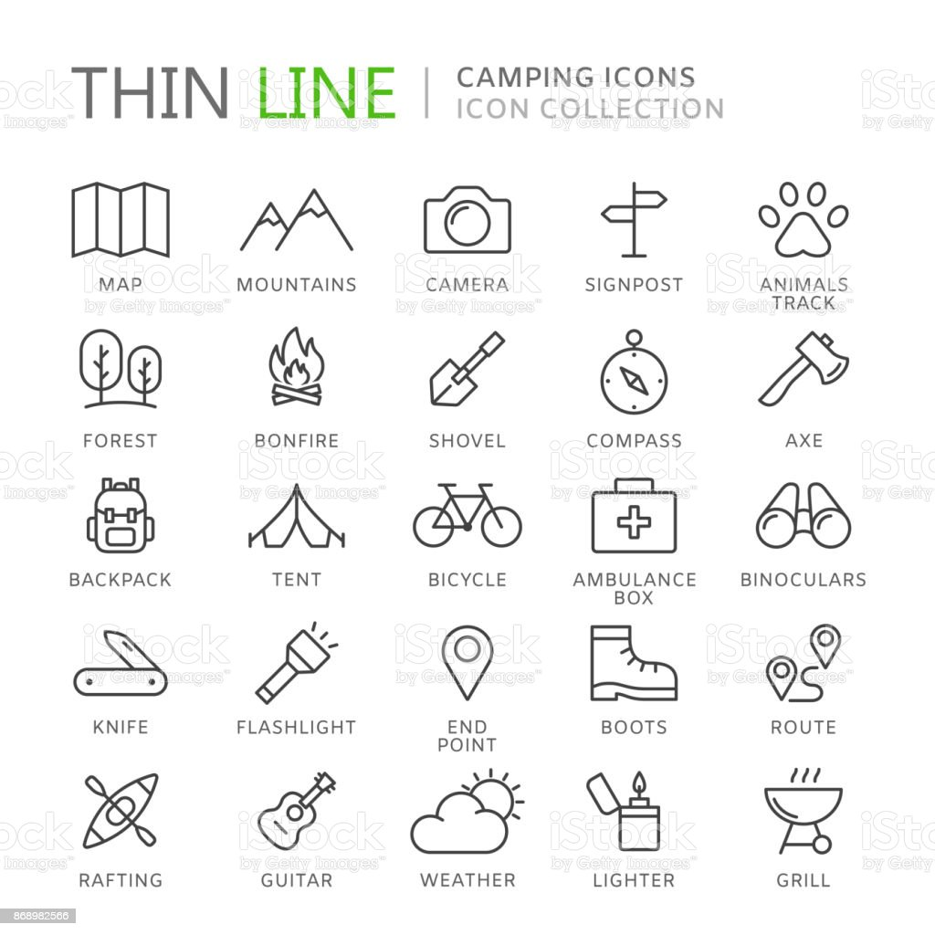 Collection of camping thin line icons vector art illustration