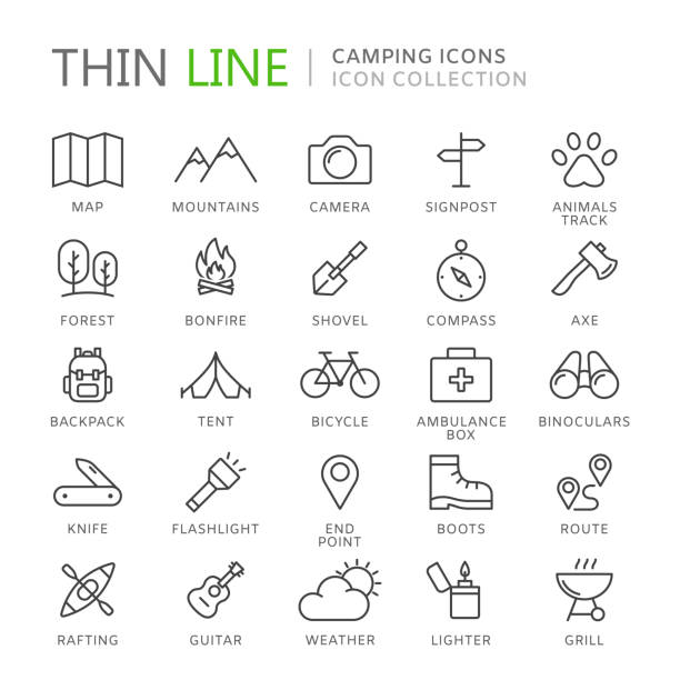 Collection of camping thin line icons Collection of camping thin line icons. Vector eps10 flashlight stock illustrations