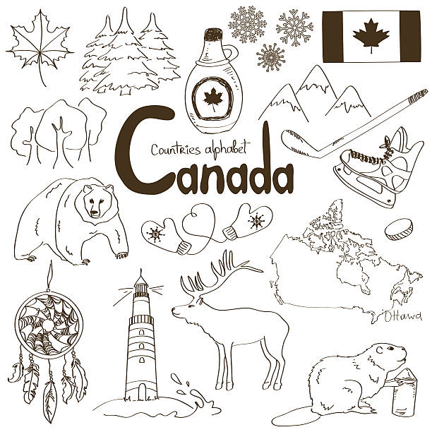 Collection of Canada icons Fun sketch collection of Canada icons, countries alphabet maple syrup stock illustrations