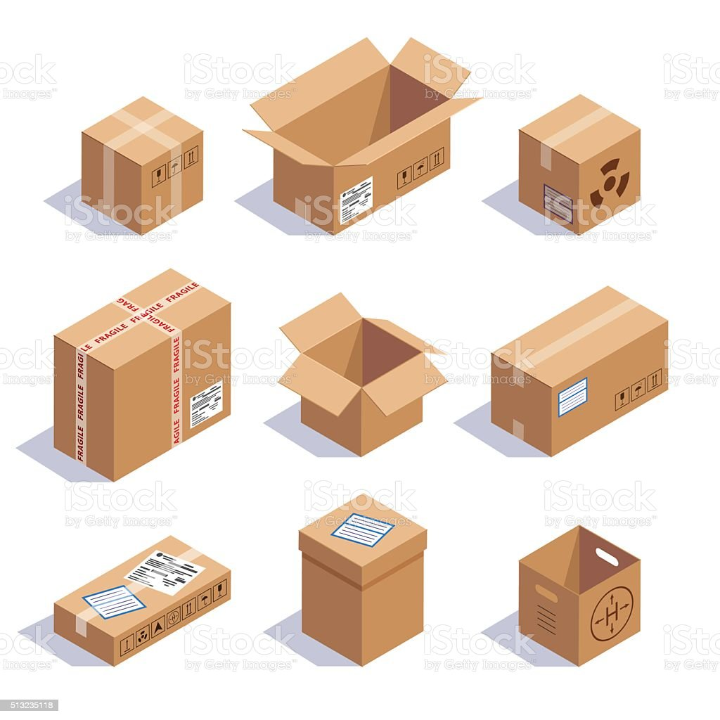 Collection of cardboard boxes vector art illustration