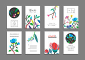 Collection of  cards with flowers. Beautiful freehand colorful illustration. Design for poster, card, invitation, placard, brochure, flyer. Isolated