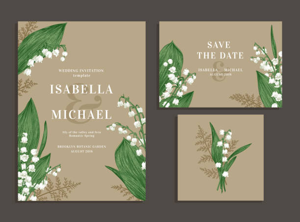 Collection of cards with flowers. Vintage wedding set with spring flowers. Lilies of the valley and fern. Wedding invitation, save the date, reception card. Vector illustration. Kraft. lily of the valley stock illustrations