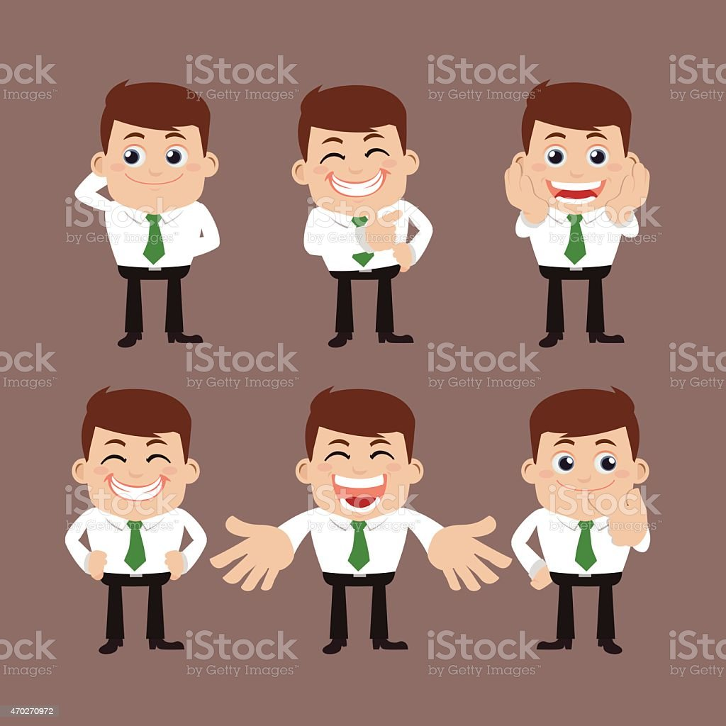 Collection of cartoon businessman in different poses vector art illustration