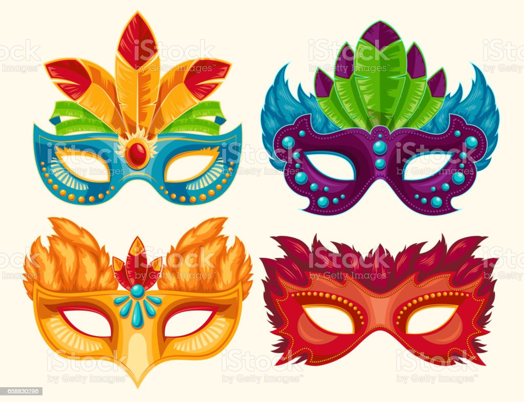Collection of cartoon carnival masks decorated with feathers and rhinestones vector art illustration