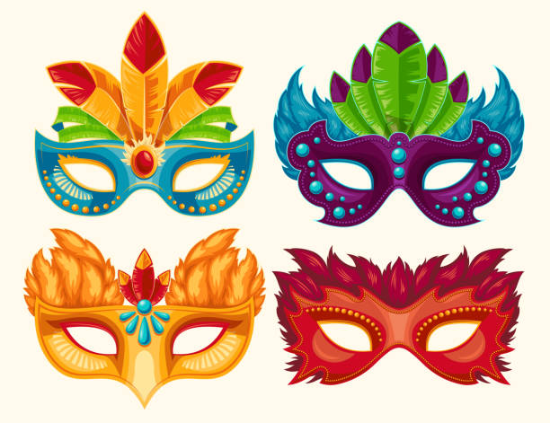 Collection of cartoon carnival masks decorated with feathers and rhinestones Collection of cartoon illustrations of venetian painted carnival facial masks for a party decorated with feathers and rhinestones isolated on a light background mardi gras stock illustrations