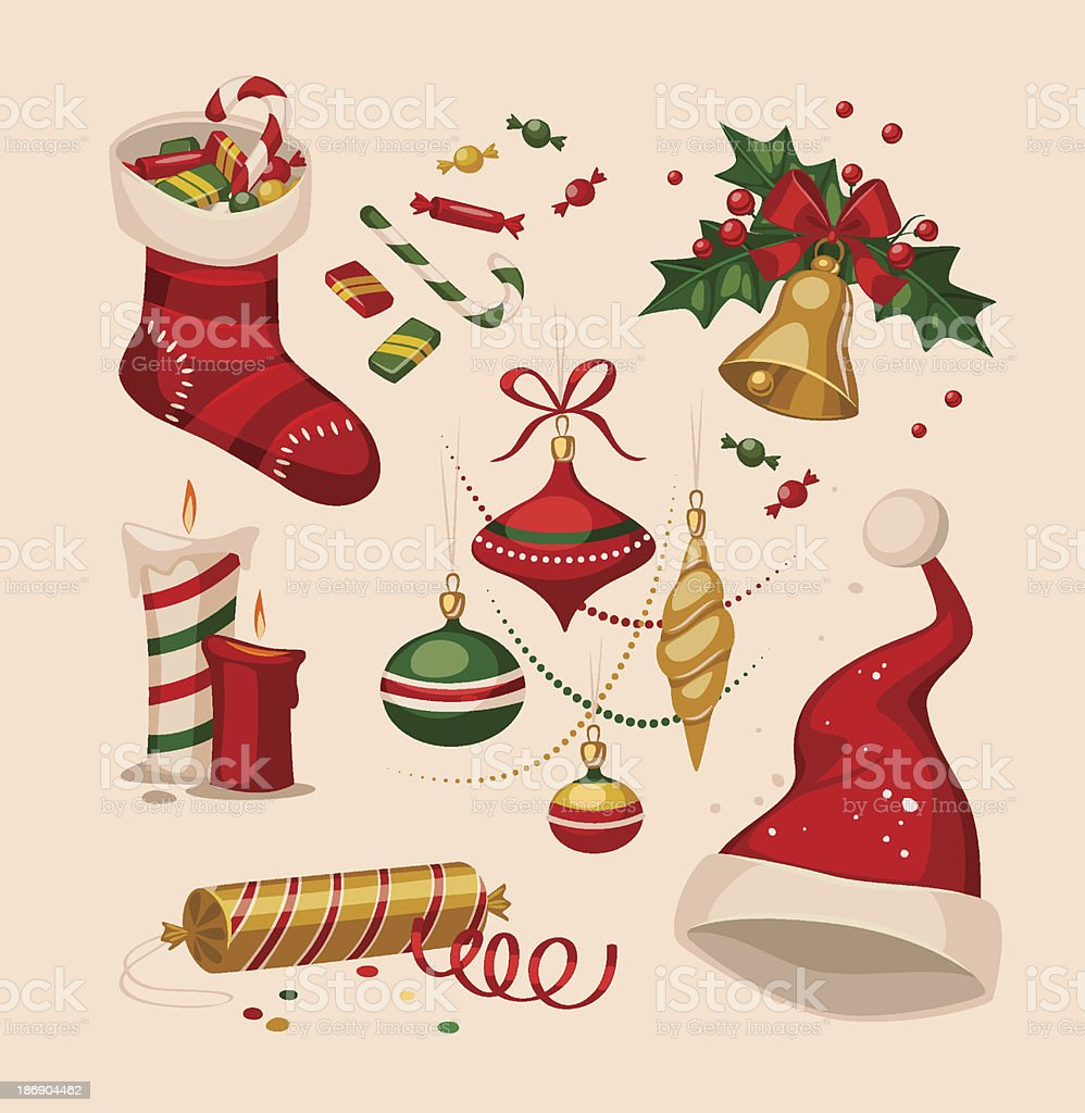 Collection of cartoon Christmas decoration illustrations royalty-free collection of cartoon christmas decoration illustrations stock vector art & more images of abstract