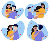 istock Collection of cartoon couples in blue spots isolated on white background. Enamored man and woman in love. Vector illustration 1300308279