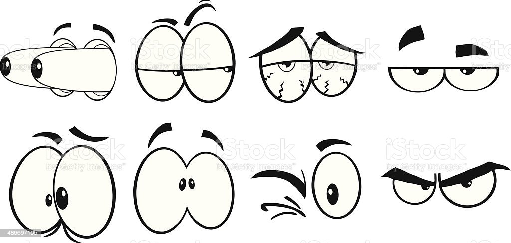Collection of Cartoon Eyes - 3 royalty-free collection of cartoon eyes 3 stock vector art & more images of black and white