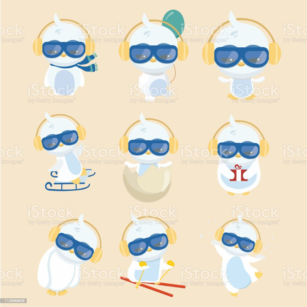Coleção de pinguim de desenho animado no fundo pastel. - ilustração de arte em vetor