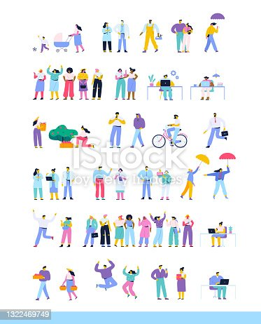 Collection of cartoon vector men and women isolated on white background