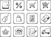 Shopping icons set. Hand Drawn illustration.