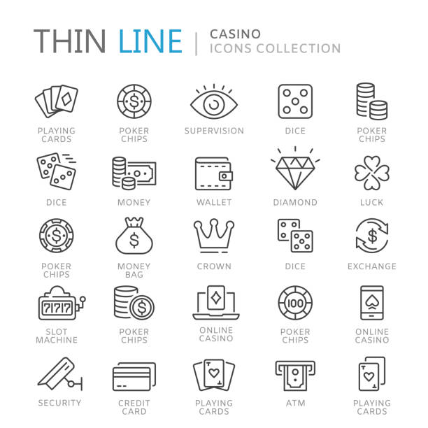Collection of casino thin line icons Collection of casino thin line icons. Vector eps10 gambling stock illustrations