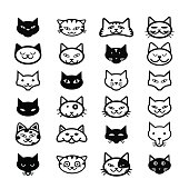 Collection of cat icons, illustration