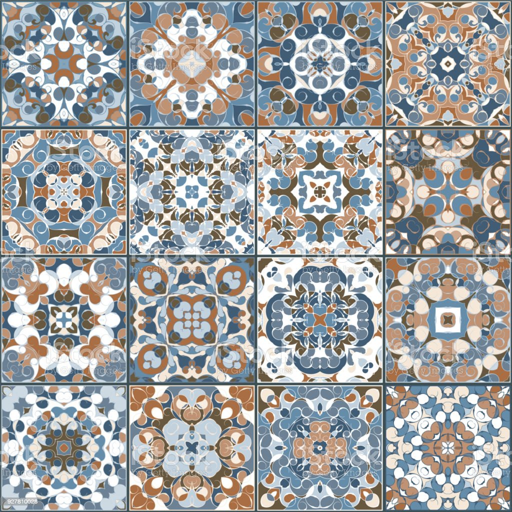A Collection Of Ceramic Tiles In Blue And Brown Colors Stock Vector ...