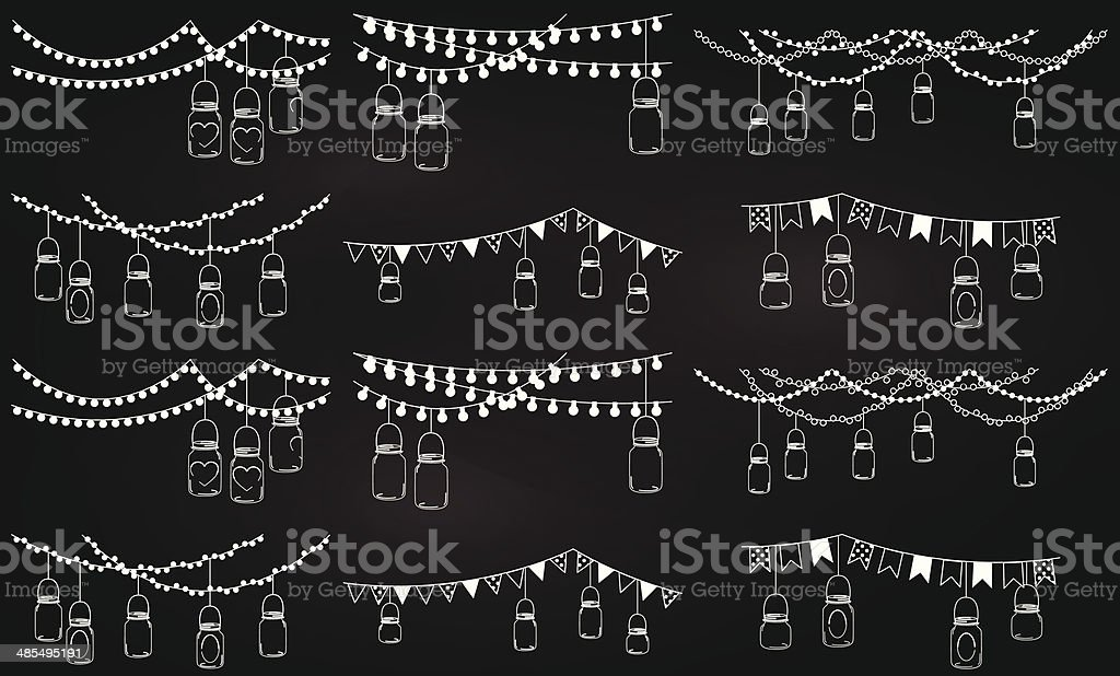 Collection of chalkboard style mason jar lights