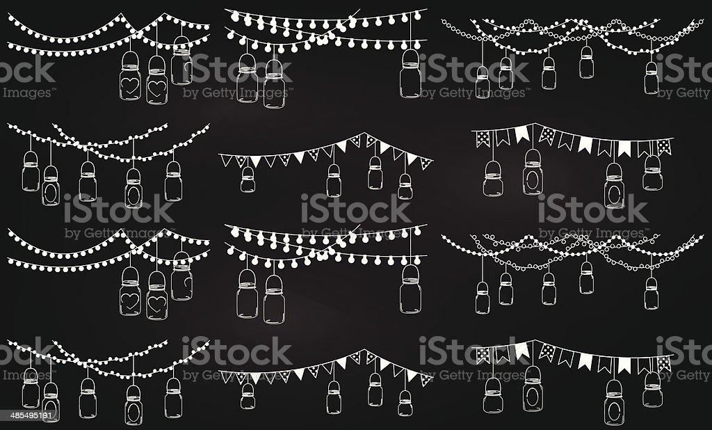 Collection of chalkboard style mason jar lights vector art illustration