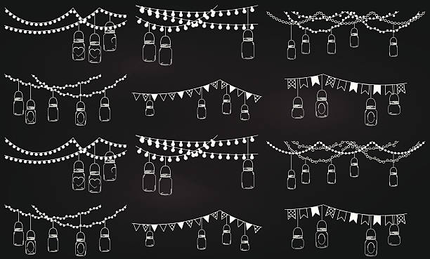 Collection of chalkboard style mason jar lights Vector Collection of Chalkboard Style Mason Jar Lights. No transparencies or gradients used. Large JPG included. Each element is individually grouped for easy editing. lantern stock illustrations