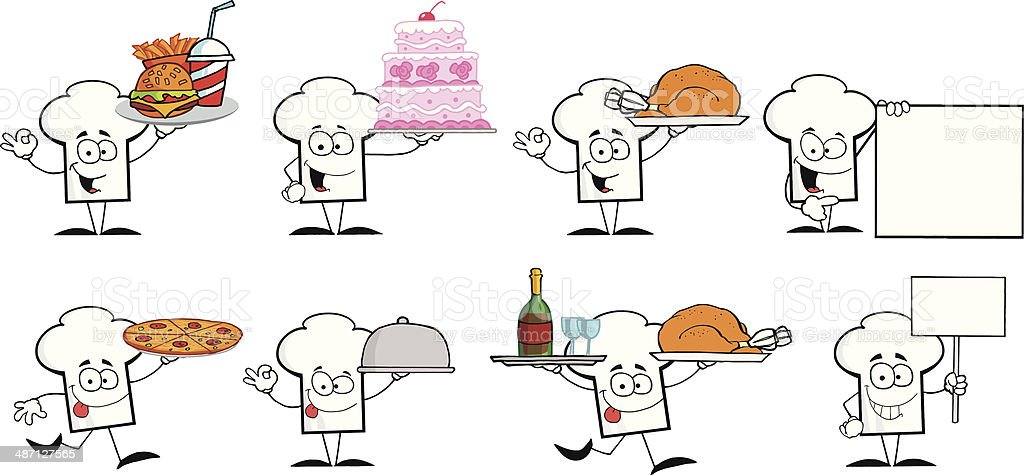Collection of Chef Hat vector art illustration