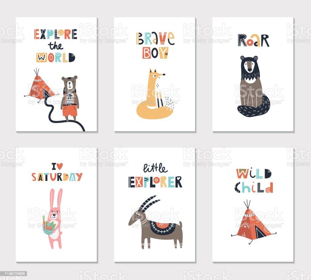 かわいい動物やレタリングと子供のカードのコレクション保育園ポスターに最適ですベクターイラスト イラストレーションのベクターアート素材や画像を多数ご用意 Istock