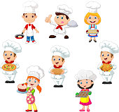 Vector illustration of Collection of children cook chef on white background