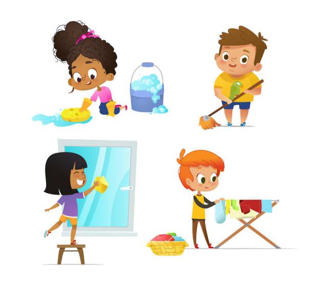 sammlung von kindern, die haushaltsabläufe machen-fußboden, waschfenster, hängekleidung auf trockenregal. konzept von montessori mit pädagogischen aktivitäten. cartoon vektorabbildung. - fenster putzen stock-grafiken, -clipart, -cartoons und -symbole