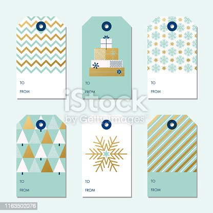 Collection of Christmas and New Year gift tags. stock illustration
