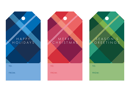Collection of Christmas and New Year gift tags.
