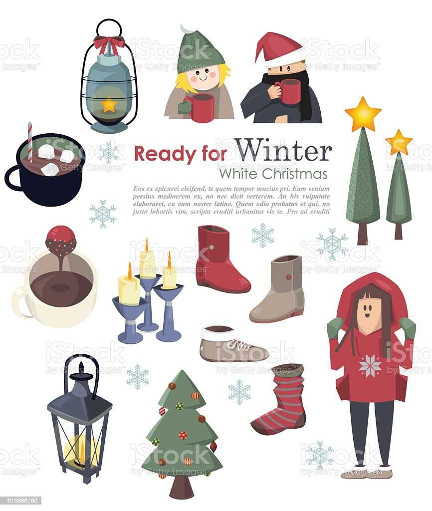 collection of christmas and winter a vector art illustration