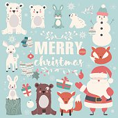 Collection of Christmas animals, lettering and Santa Claus, Merry Christmas
