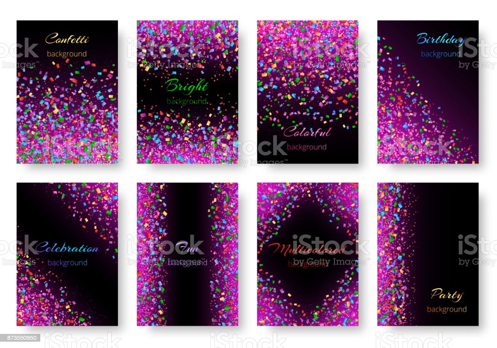 Collection of Christmas backgrounds with confetti and sparkles vector art illustration