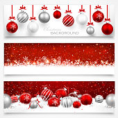 Collection of Christmas banners with snowflakes and Christmas balls. Vector illustration EPS10, transparency