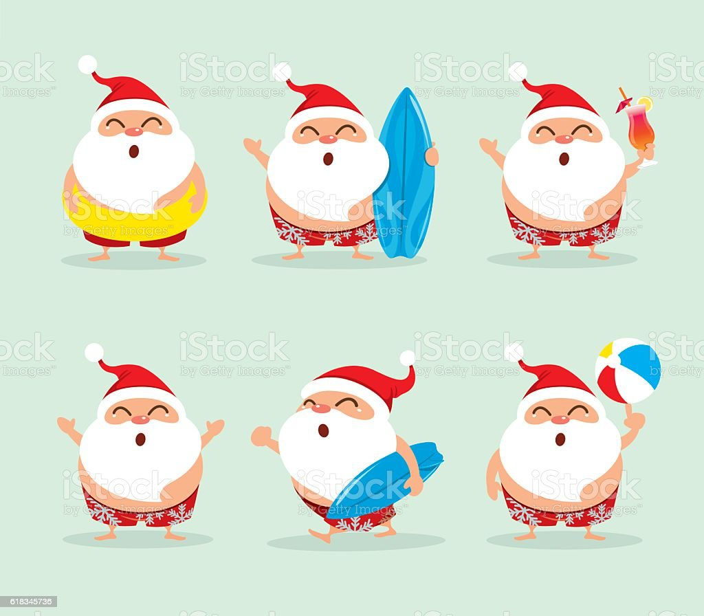 Collection of Christmas beach holiday Santa Claus vector art illustration