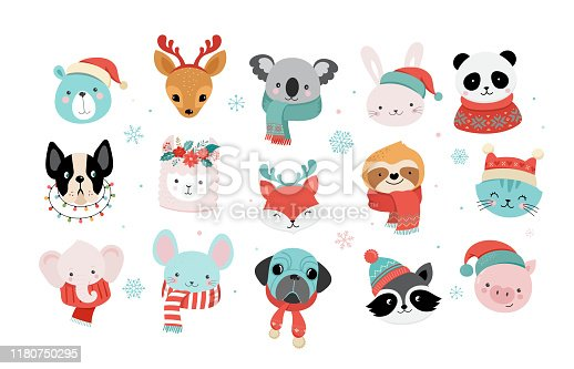 istock Collection of Christmas cute animals, Merry Christmas illustrations of panda, fox, llama, sloth, cat and dog with winter accessories like a knited hats, sweaters, scarfs 1180750295