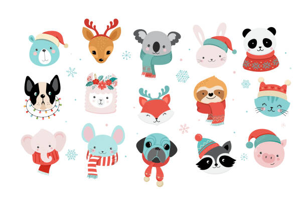 Collection of Christmas cute animals, Merry Christmas illustrations of panda, fox, llama, sloth, cat and dog with winter accessories like a knited hats, sweaters, scarfs Collection of Christmas cute animals, Merry Christmas illustrations of panda, fox, llama, sloth, cat and dog with winter accessories like a knited hats, sweaters, scarfs animal stock illustrations