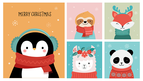 Collection of Christmas cute animals, Merry Christmas illustrations of panda, fox, llama, sloth, cat and dog with winter accessories like a knited hats, sweaters, scarfs