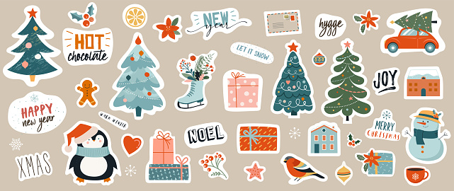 Collection of Christmas decorations, holiday gifts, winter knitted woolen clothes, ginger bread, trees, gifts and penguin. Colorful vector illustration in flat cartoon style.