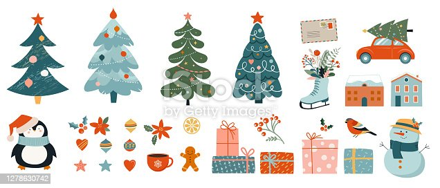 istock Collection of Christmas decorations, holiday gifts, winter knitted woolen clothes, ginger bread, trees, gifts and penguin. Colorful vector illustration in flat cartoon style. 1278630742