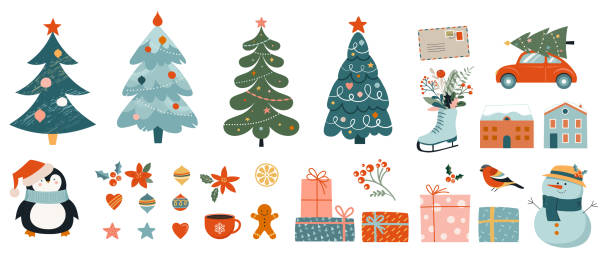 Collection of Christmas decorations, holiday gifts, winter knitted woolen clothes, ginger bread, trees, gifts and penguin. Colorful vector illustration in flat cartoon style. Collection of Christmas decorations, holiday gifts, winter knitted woolen clothes, ginger bread, trees, gifts and penguin. Colorful vector illustration in flat cartoon style christmas tree stock illustrations