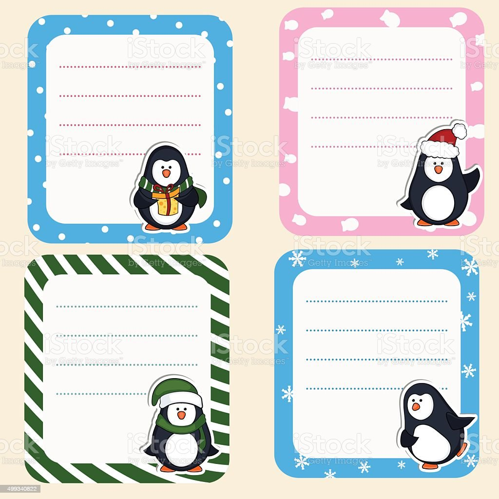 Collection Of Christmas Frames Cute Frames With Penguins Stock ...