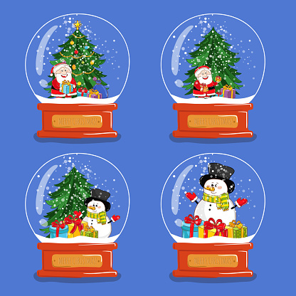 Collection of Christmas Glass Snow Globes