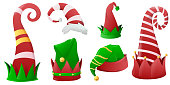 istock Collection of Christmas hats for elves, Santa Claus helpers. Christmas holiday hat green and red colours, decoration christmas costume. Vector illustration 1286564887