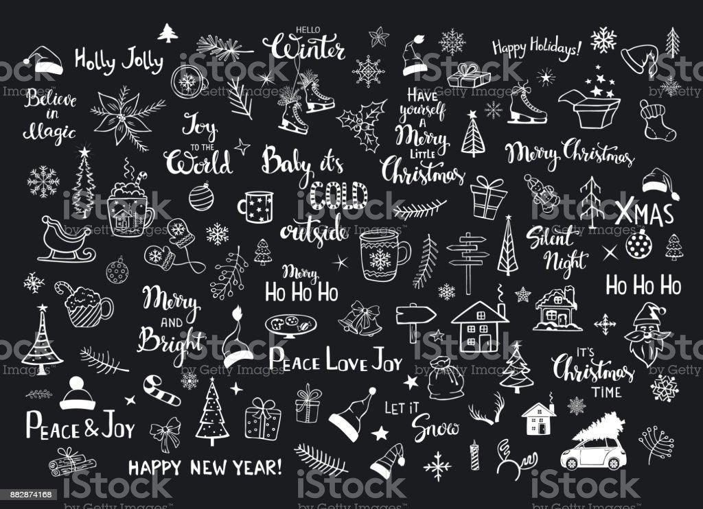 Sammlung von Weihnachten Silvester Dekorationsartikel doodles, Santa Hüte, Geschenkbox, Schneeflocken, Xmas Bäume, Zweige, Äste, Haus, Auto, Becher, Schlittschuhe und Hand beschriftet Zitate – Vektorgrafik