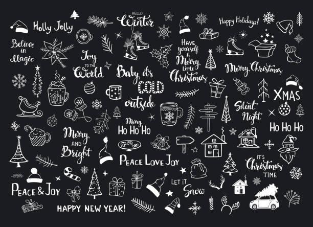 ilustraciones, imágenes clip art, dibujos animados e iconos de stock de colección de navidad artículos de decoración de año nuevo doodles, árboles de navidad, sombreros de santa, caja de regalo, los copos de nieve, ramas, ramas, casa, coche, taza, patines y mano letras comillas - tipos de letra y tipografía