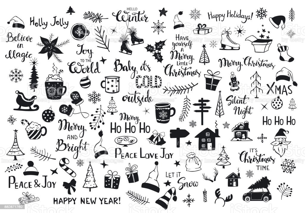 collection of christmas new years decoration items silhouettes and outlined doodles, xmas trees, santa hats, gift box, snowflakes, twigs, branches, house, car, mug, skates and hand lettered quotes royalty-free collection of christmas new years decoration items silhouettes and outlined doodles xmas trees santa hats gift box snowflakes twigs branches house car mug skates and hand lettered quotes stock illustration - download image now