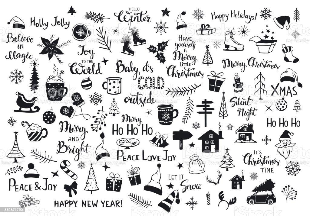 Sammlung von Weihnachten Silvester Dekoration Artikel Silhouetten und skizzierte Kritzeleien, Xmas Bäume, Santa Hüte, Geschenkbox, Schneeflocken, Zweige, Äste, Haus, Auto, Becher, Schlittschuhe und Hand beschriftet Zitate – Vektorgrafik