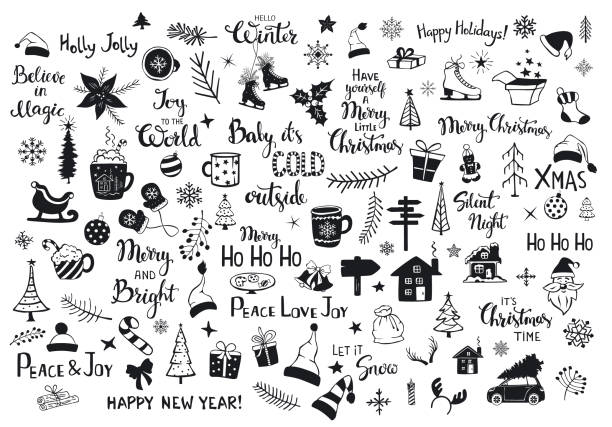 collection of christmas new years decoration items silhouettes and outlined doodles, xmas trees, santa hats, gift box, snowflakes, twigs, branches, house, car, mug, skates and hand lettered quotes collection of christmas new years decoration items silhouettes and outlined doodles, xmas trees, santa hats, gift box, snowflakes, twigs, branches, house, car, mug, skates and hand lettered quotes christmas drawings stock illustrations