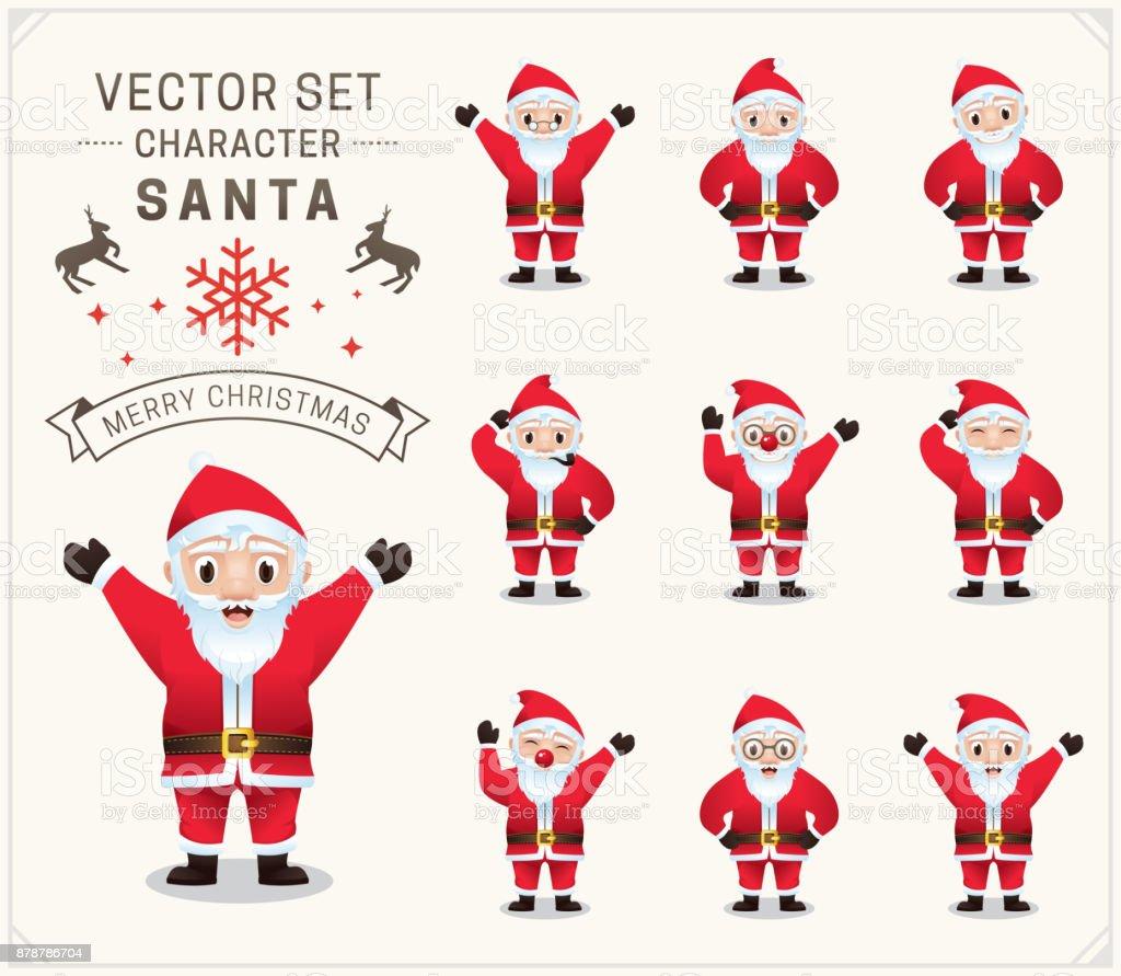 Sammlung Von Weihnachten Santa Claus Weihnachtsmann Set Charakter ...