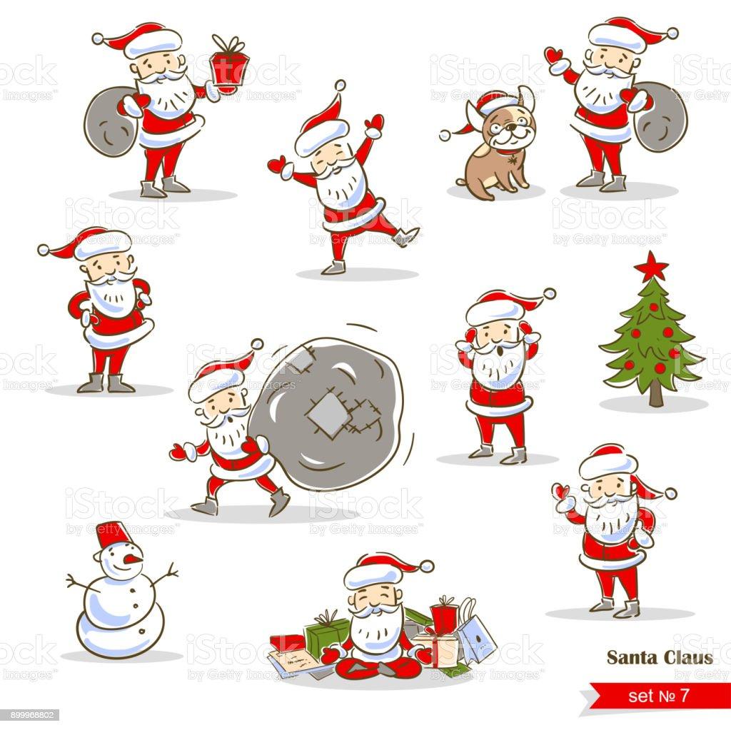 Sammlung Von Weihnachten Santa Claus Nikoläuse Festgelegt Stock ...